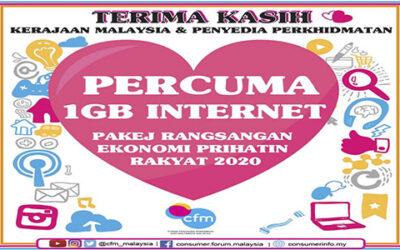 CARA PENEBUSAN 1GB INTERNET PERCUMA : PAKEJ RANGSANGAN EKONOMI PRIHATIN RAKYAT 2020